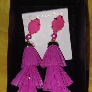 Kendra Scott hot pink tassel Denise earrings